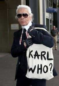 Karl Lagerfeld with Karl Who bag