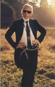 Karl Lagerfeld posing