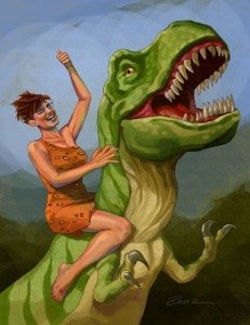 Sarah Palin on a dinosaur.