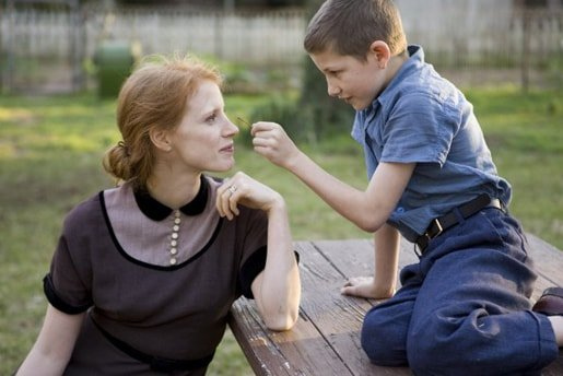 Tye Sheridan with Jessica Chastain in 'Tree of Life'